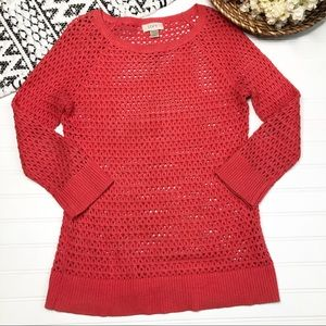 3/$15 LOFT Bright Pink Perforated  Sweater